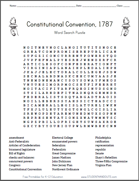 Constitutional Convention Word Search Puzzle Free To Print Pdf
