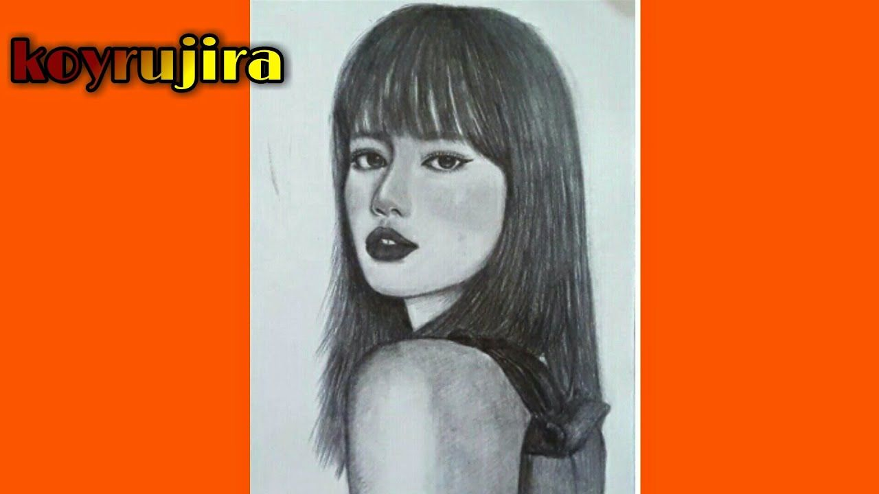 ภาพวาดแรเงาผ หญ งแบบฉบ บม อใหม Lisa Blackpink Koyrujira ในป 2021