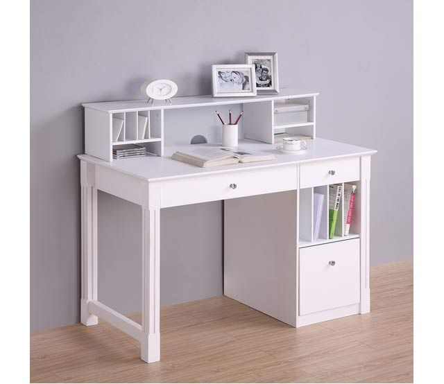 """Beautiful And Ergonomic Home Office With Small Storage: 48"""" Dlx Contemporary Desk With Hutch"""