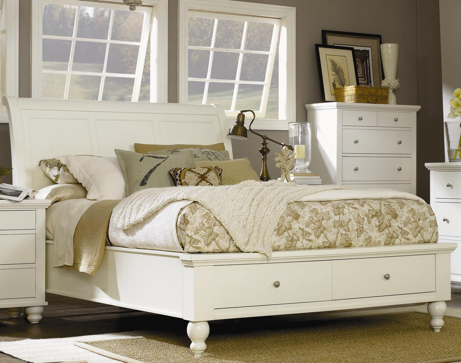 cambridge king size bed with sleigh headboard drawer storage