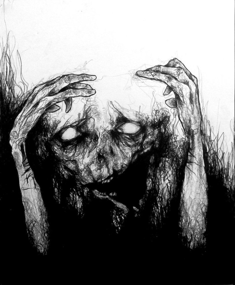 scary death art Black and White depression horror pencil ...