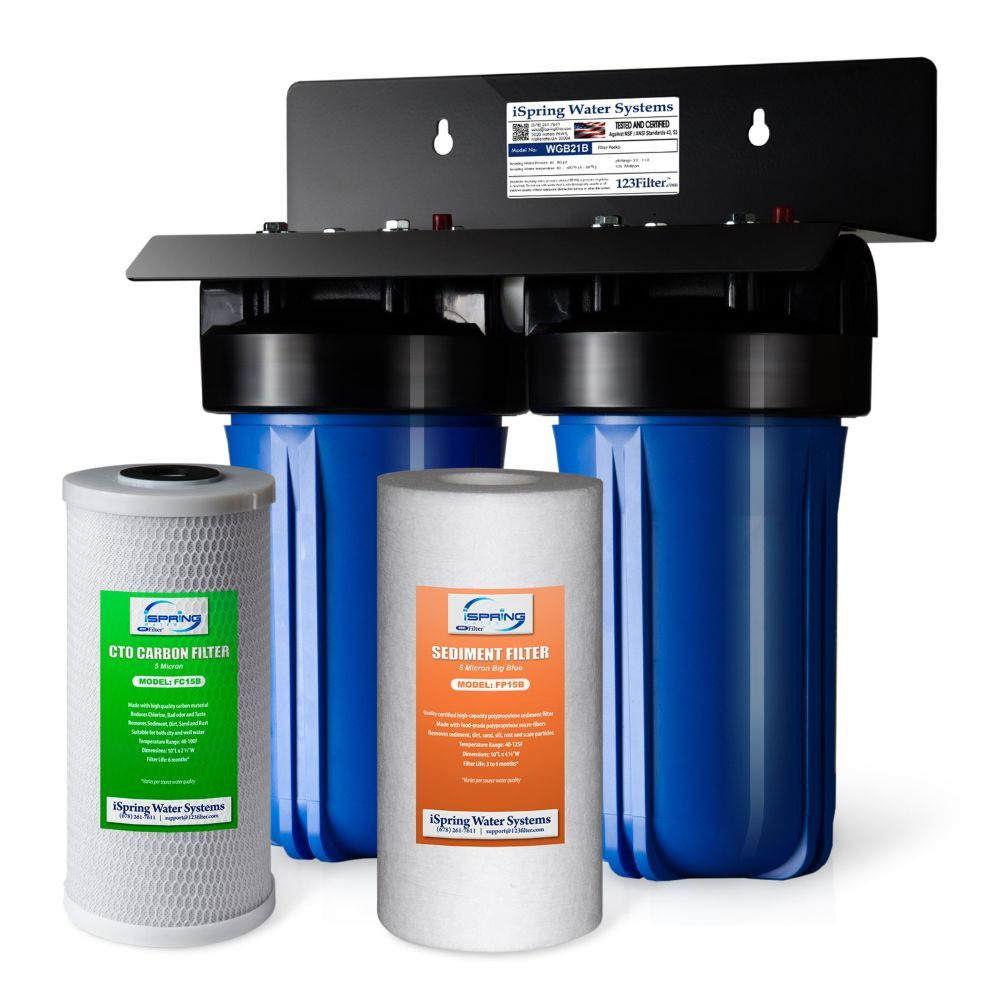 Wgb21b 2 Stage Whole House Water Filtration System W 4 5 Inchx10 Inch Sediment And Carbon Whole House Water Filter Water Filtration System House Water Filter