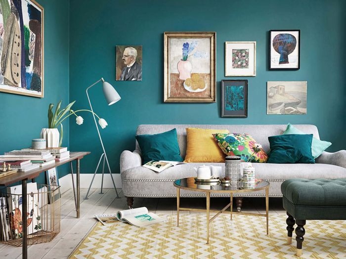 Image result for teal mustard and grey living room paint - Mustard grey and white living room ...