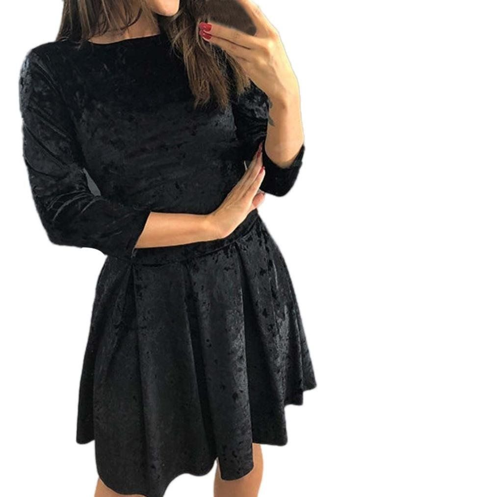 kleid damen kolylong® frauen elegant samt langarm kleid