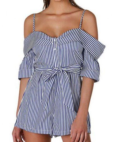 0fd90506f1a Blue and white striped cold shoulder romper tie front style for women