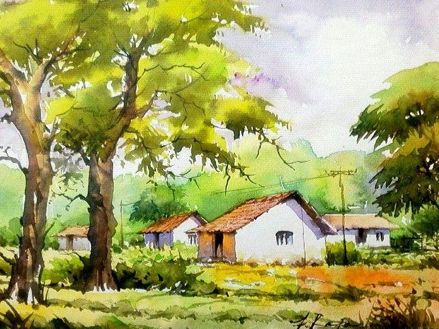 Village Scene In Watercolor By Me Watercolor Landscape