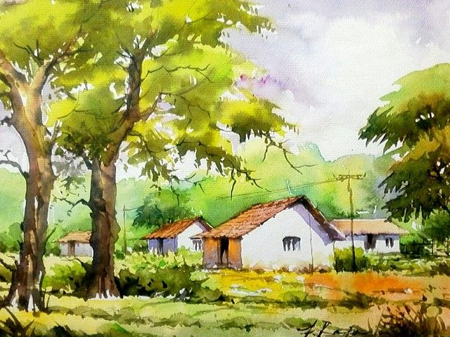 Village Scene In Watercolor By Me Watercolor Landscape