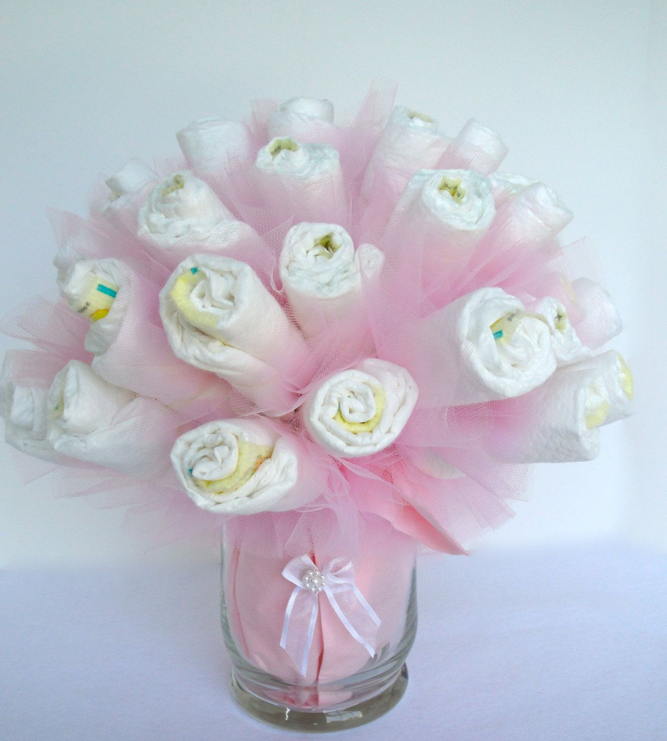Items Similar To Diaper Bouquet  Pink Baby Girl Diaper