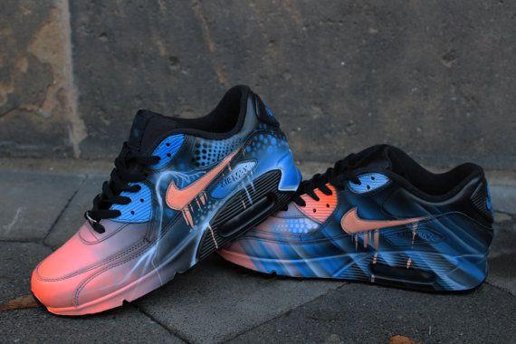 Nike Air Max 90 Blue Abstract Style Painted Custom Shoes Sneaker Airbrush  Kicks rare schuhe *UNIKAT*