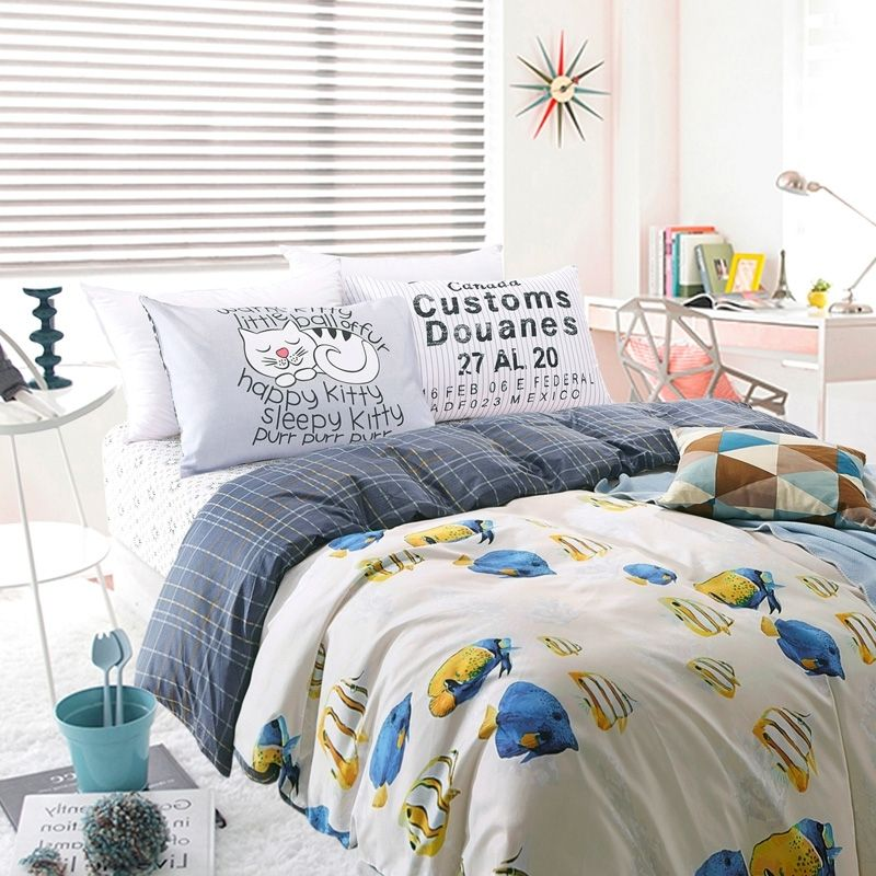 Blue Yellow Grey And White Tropical Fish Print Ocean Life Reversible 100 Cotton Kids Twin Full Size Bedding Sets Bedding Sets Full Size Bed Bed