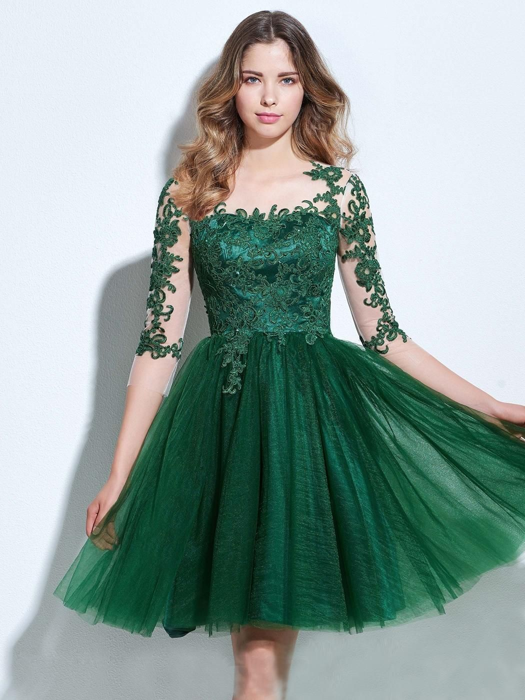 Chic aline bateau tulle dark green charming half sleeve applique