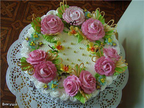 Фото цветы из крема на торт