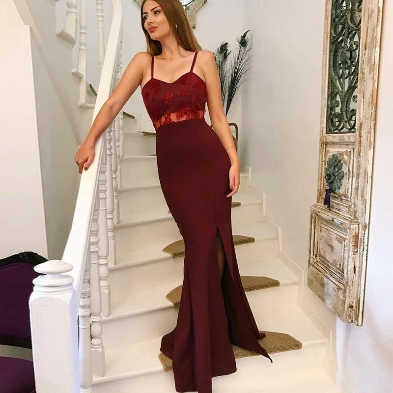 531725813b Burgundy Spaghetti Straps Prom Dress with Slit