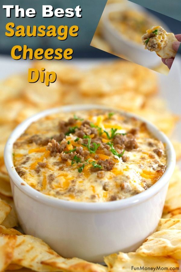 Sausage Dip With Cream Cheese & Cheddar #footballpartyfood