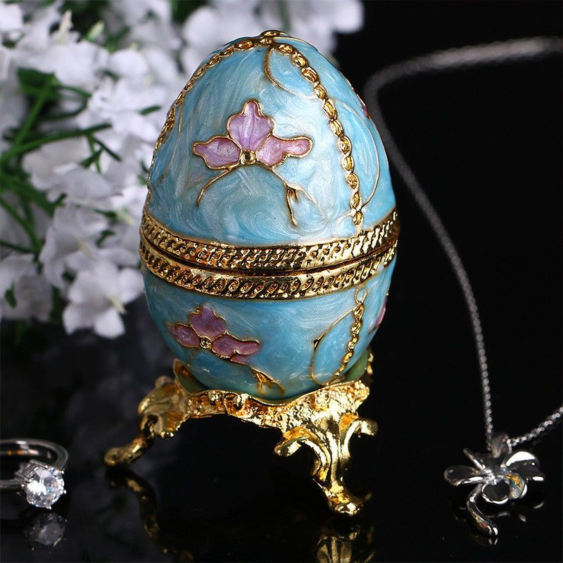 Faberge Egg Jewelry Box with Crystals Decorative Egg Trinket Box Blue Color