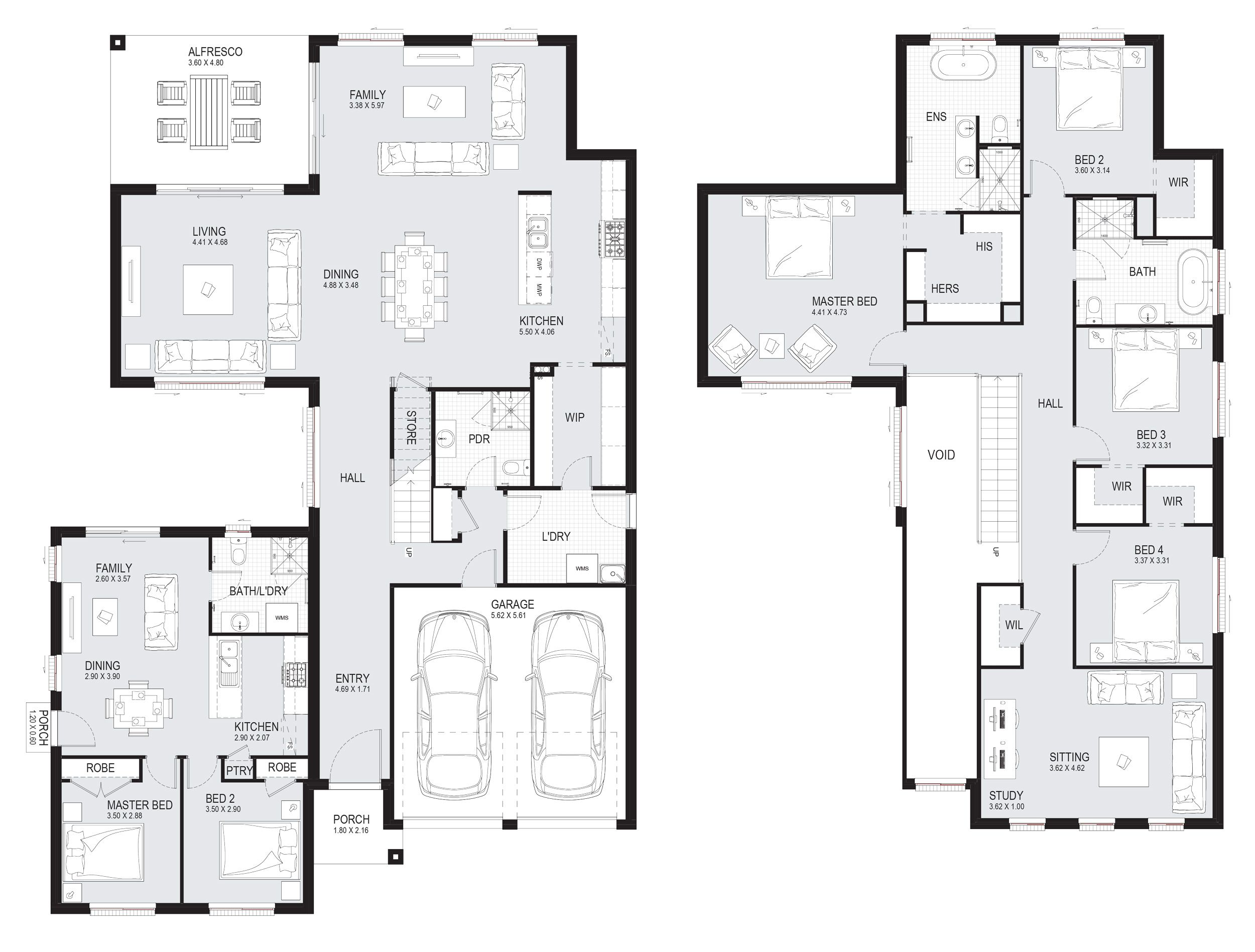 Melody Dual 45 Dual Living Level Floorplan By Kurmond Homes New Home Builders Sydn House Plans Australia Multigenerational House Plans Family House Plans