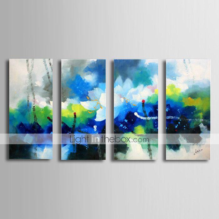 Pintada a mano Abstracto / Paisajes Abstractos Cuatro Paneles ...