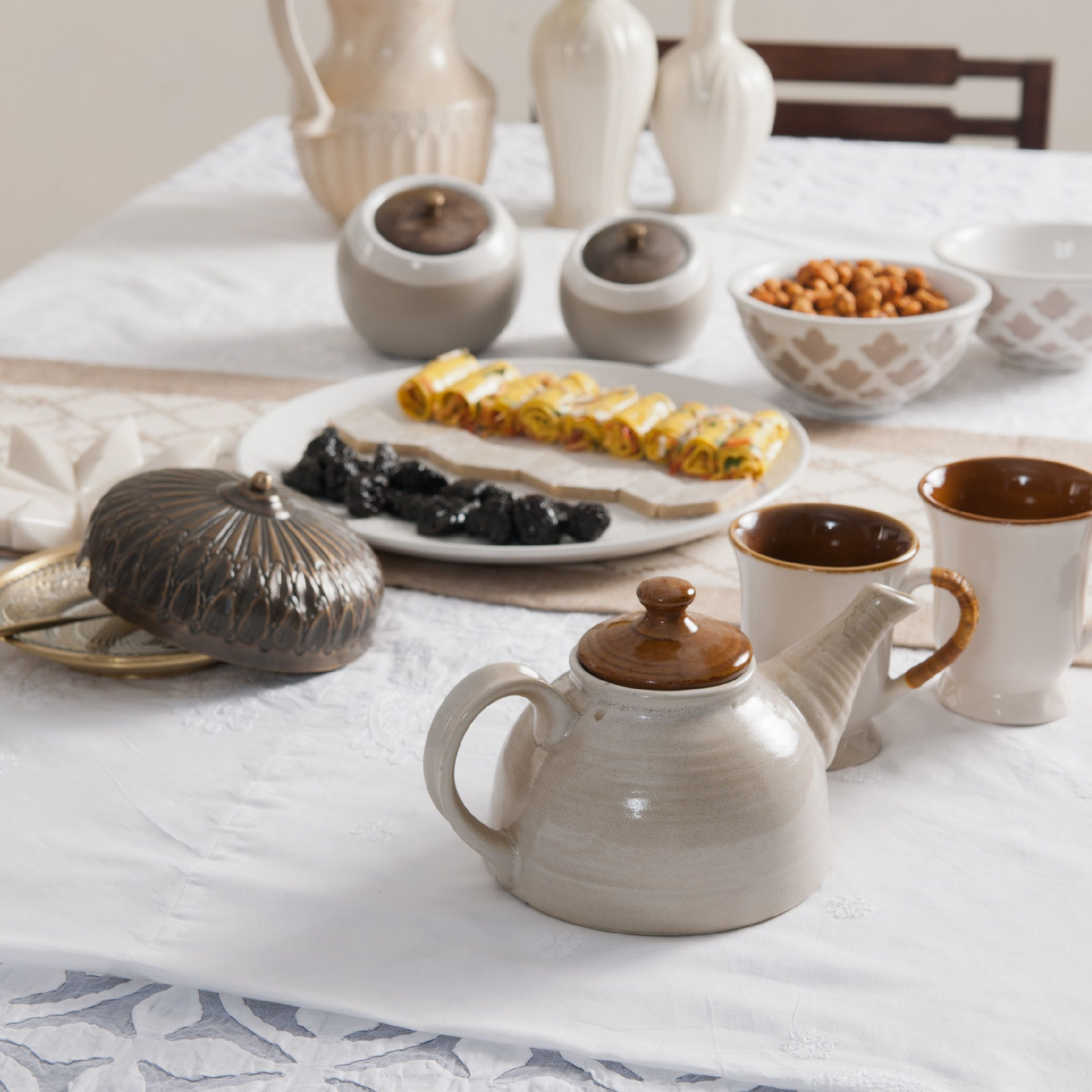 #tableware #ceramics #tea-set #mugs #bowls #platter #table