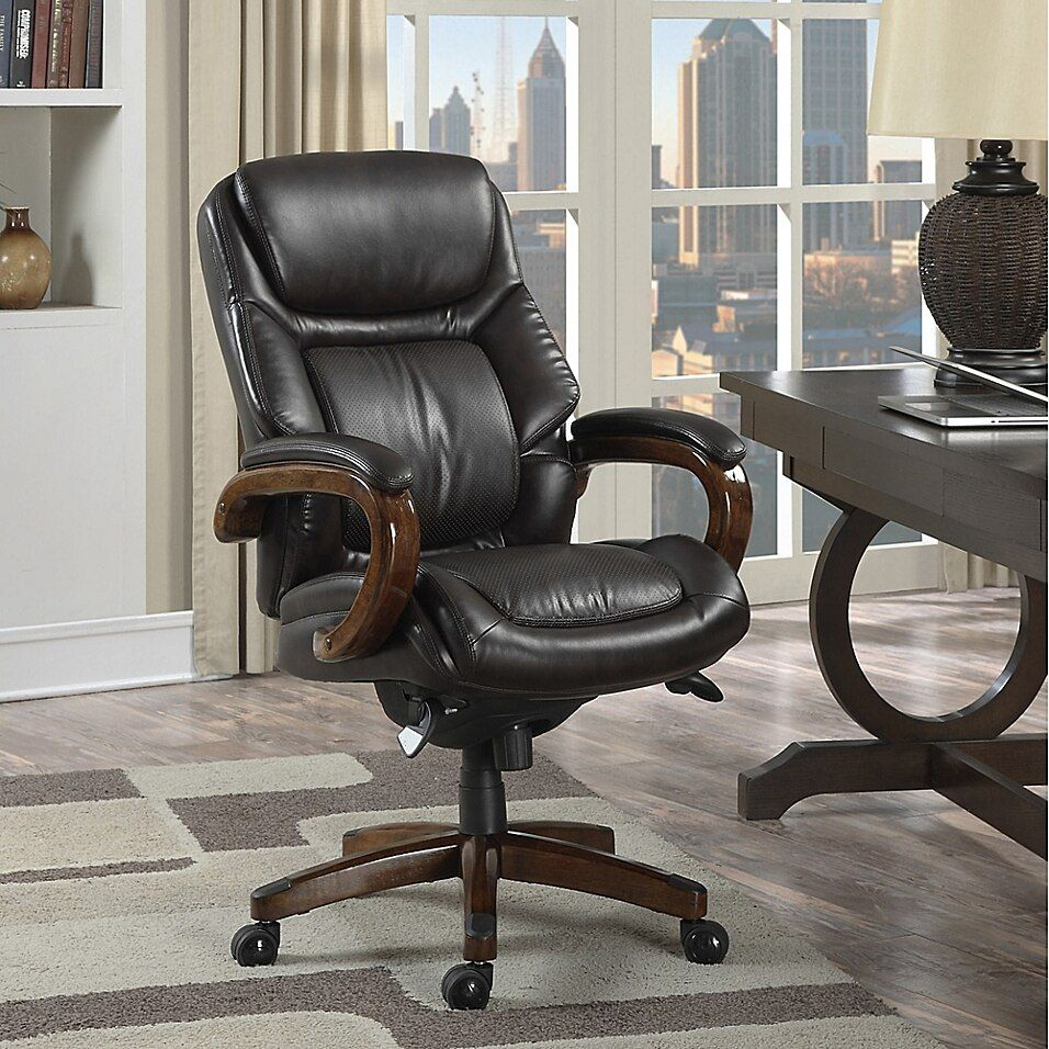 La Z Boy Kendrick Bonded Leather Executive Office Chair In Brown Most Comfortable Office Chair Contemporary Home Office Furniture Executive Office Chairs Laz y boy office chair