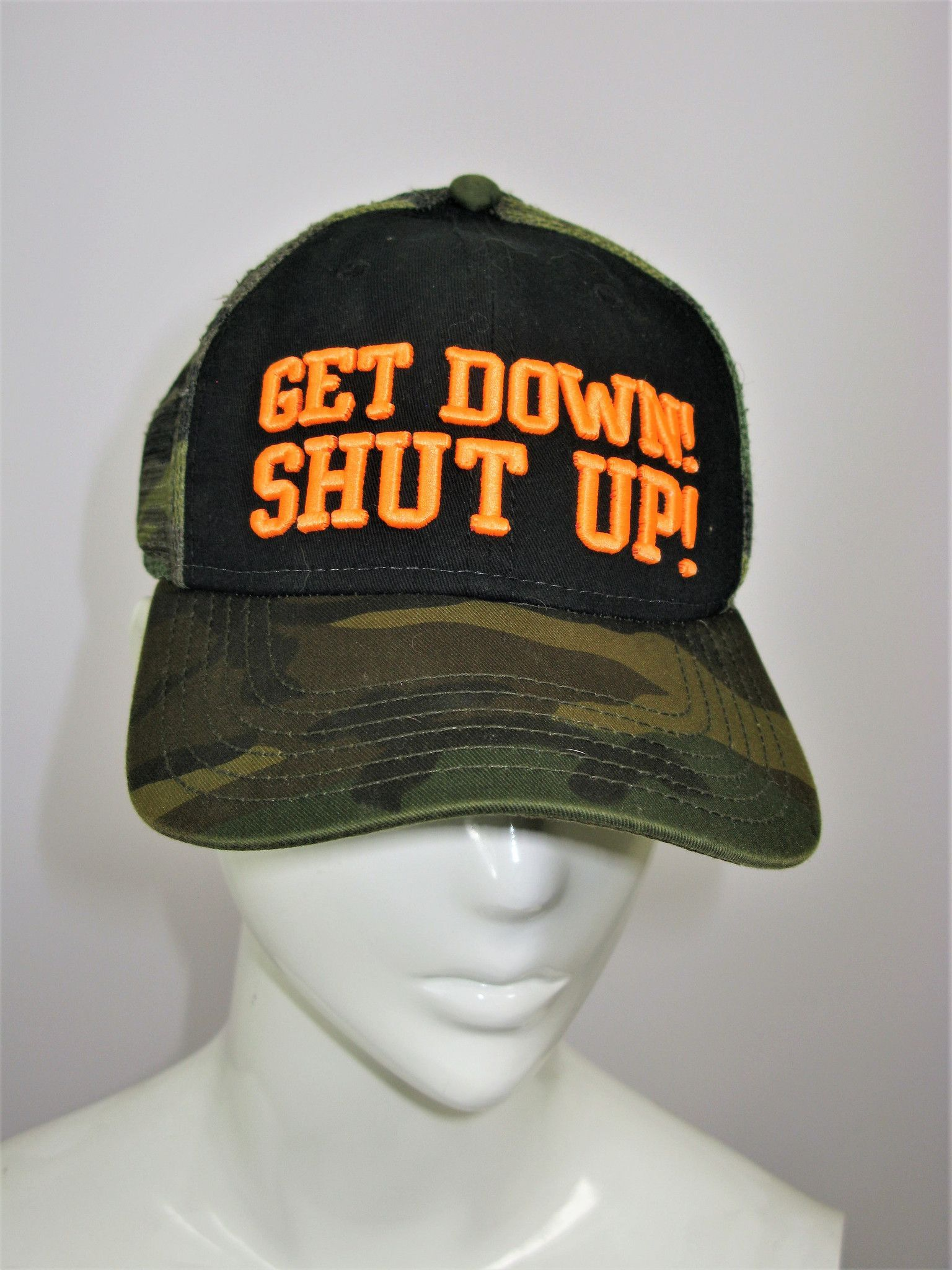 Bubba Gump Shrimp Co  Get Down Shut Up  Camo Trucker Hat  185c20307ec82