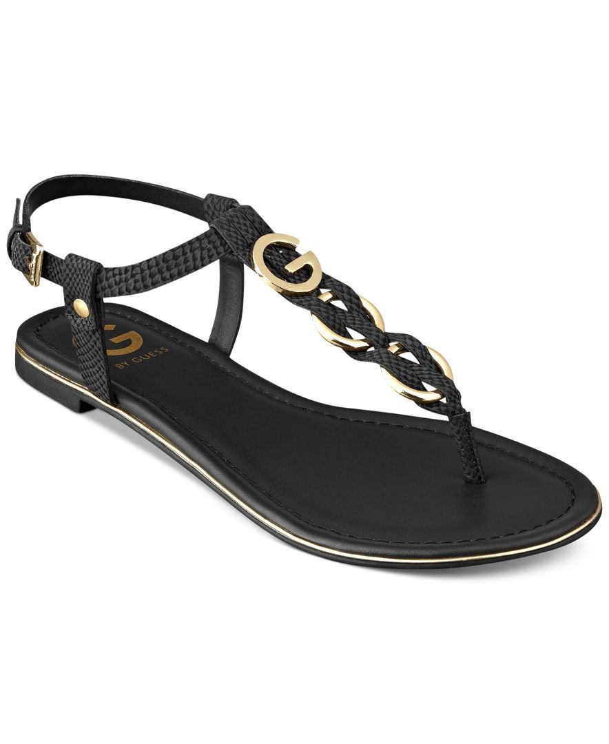 a2f167b5c158 G by Guess Women s Dahlia Braided T-Strap Flat Sandals