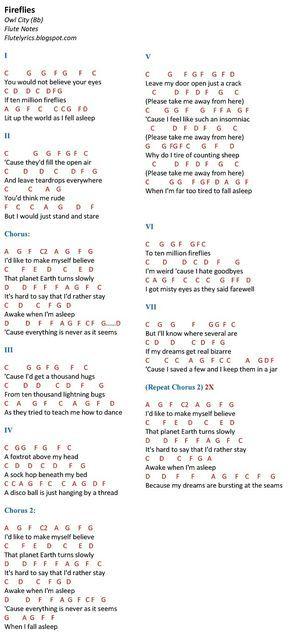 Fireflies – Owl City (Bb) Flute Notes | FluteNotes.ph (Free Letter Notes) – Mini