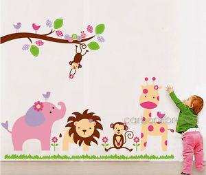 HUGE Jungle Animal Zoo Wall Stickers Nursery Girls  Part 79