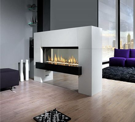 Chimenea flotante a gas decoracion pinterest for Hogares modernos a gas