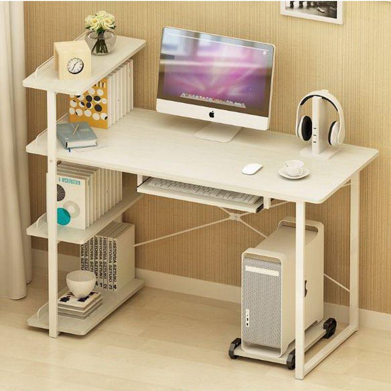 250616computer bureau en bureau stijl moderne eenvoudige bureau met boekenkast bureau eenvoudige tafel