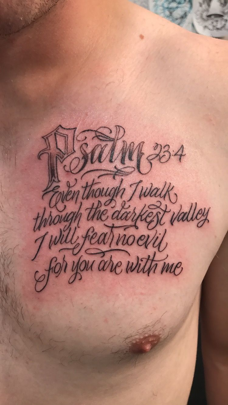 Psalm 23 Tattoo Sleeve : psalm, tattoo, sleeve, Psalm, Tattoo, Chest, Piece, Tattoos,, Tattoo,, Christ