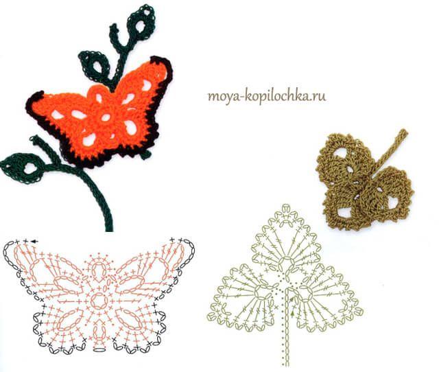 60 Patrones de Flores, Hojas y Mariposas Crochet | Hoja, Mariposas y ...