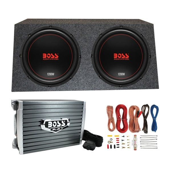 Boss Chaos Exxtreme 12 1200w 4 Ohm Subwoofer Pair W Box Amplifier And Wiring Powered Subwoofer Stereo Amplifier Boss Audio