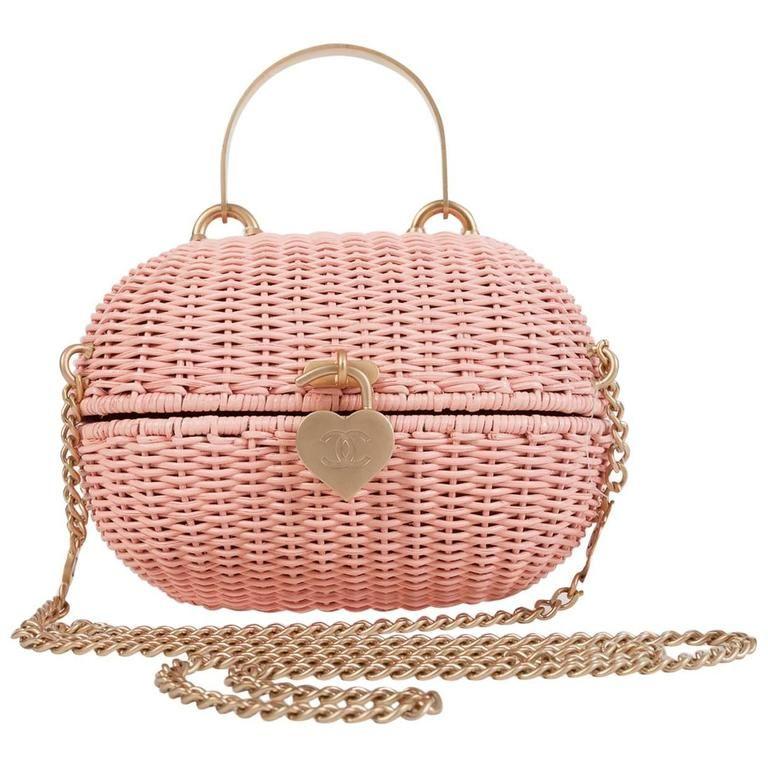 Rare Chanel Pink Wicker Straw Heart Closure 2-Way Handle or Crossbody Bag  NWT  334c0d3db5355