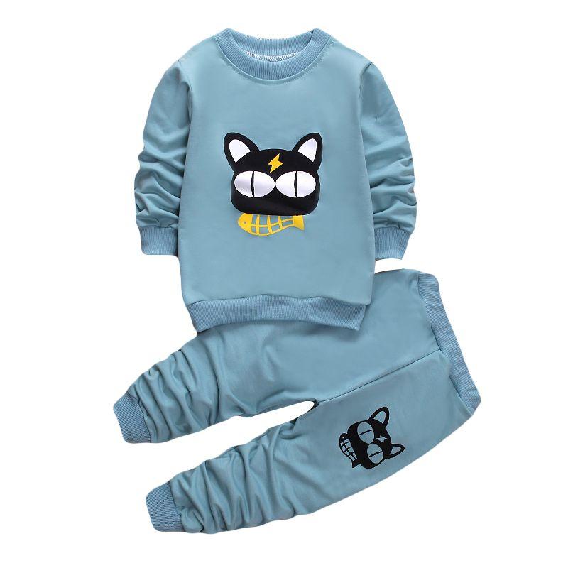 e7c6f48d3215 Autumn Children Clothing Set Cotton Cartoon Long Sleeves+Trousers ...
