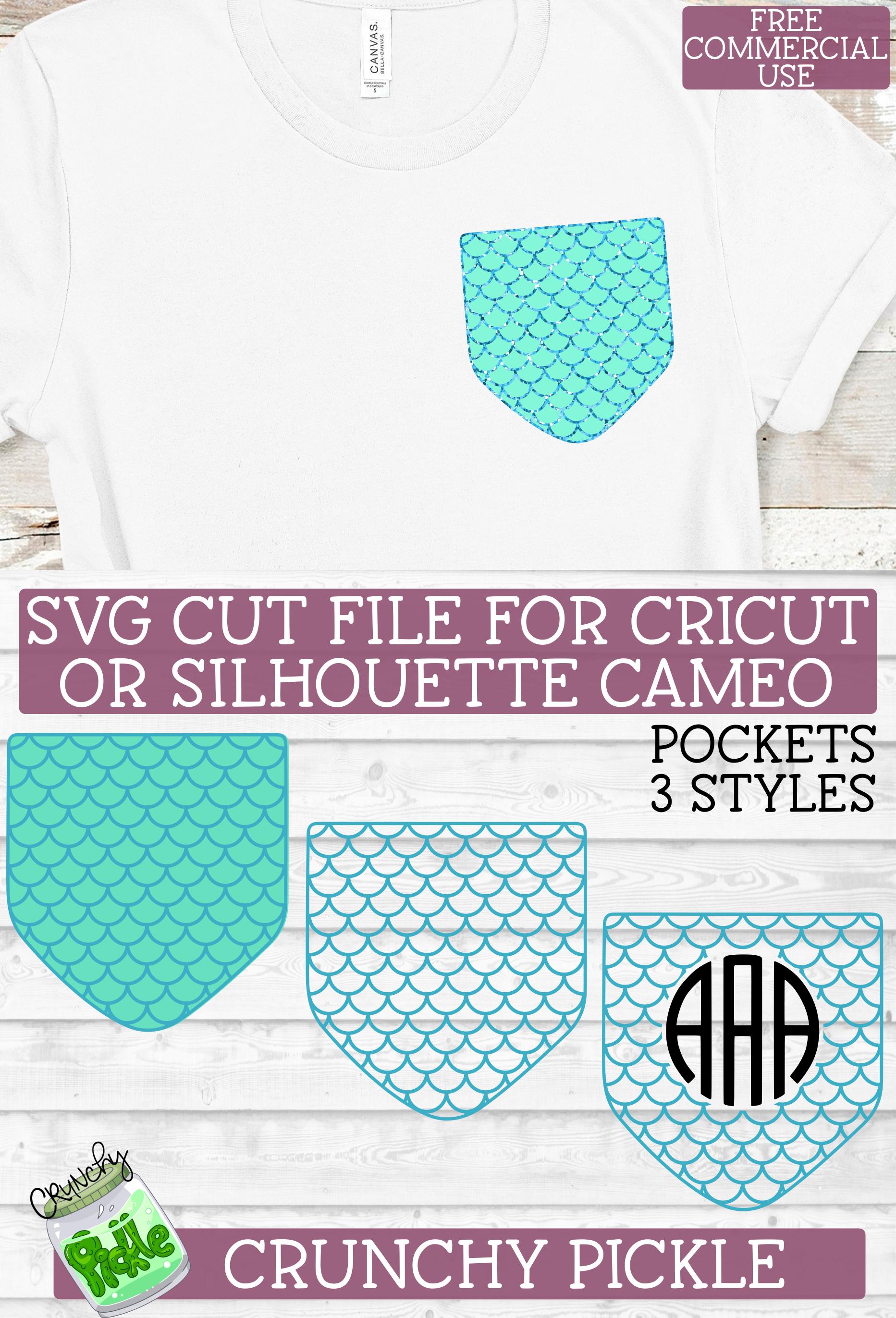 Pickle Pockets Monogram Pocket Mermaid Scales SVG File