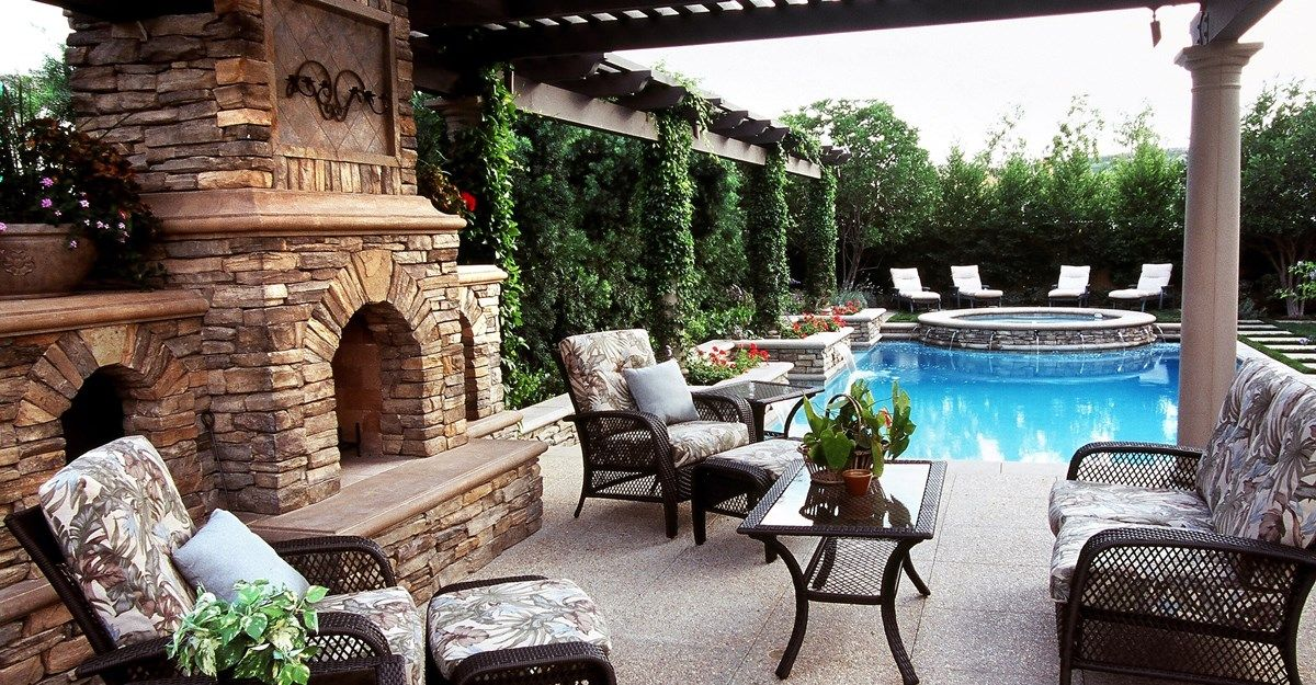 Outdoor Patio Rooms stunning outdoor space, #patio with stone fireplace and gorgeous