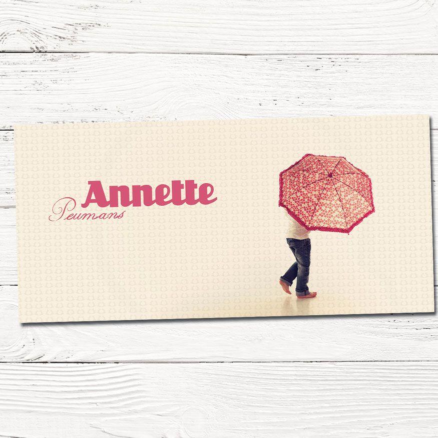 Geboortekaartje meisje met foto | grafisch | ontwerp | babykaartjes | paraplu