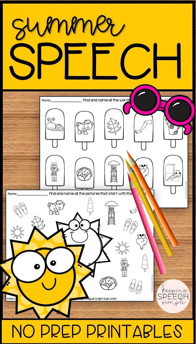 Summer Speech No Prep Articulation Worksheets Speech Therapy Activities Articulation Worksheets Speech Activities [ 1344 x 768 Pixel ]