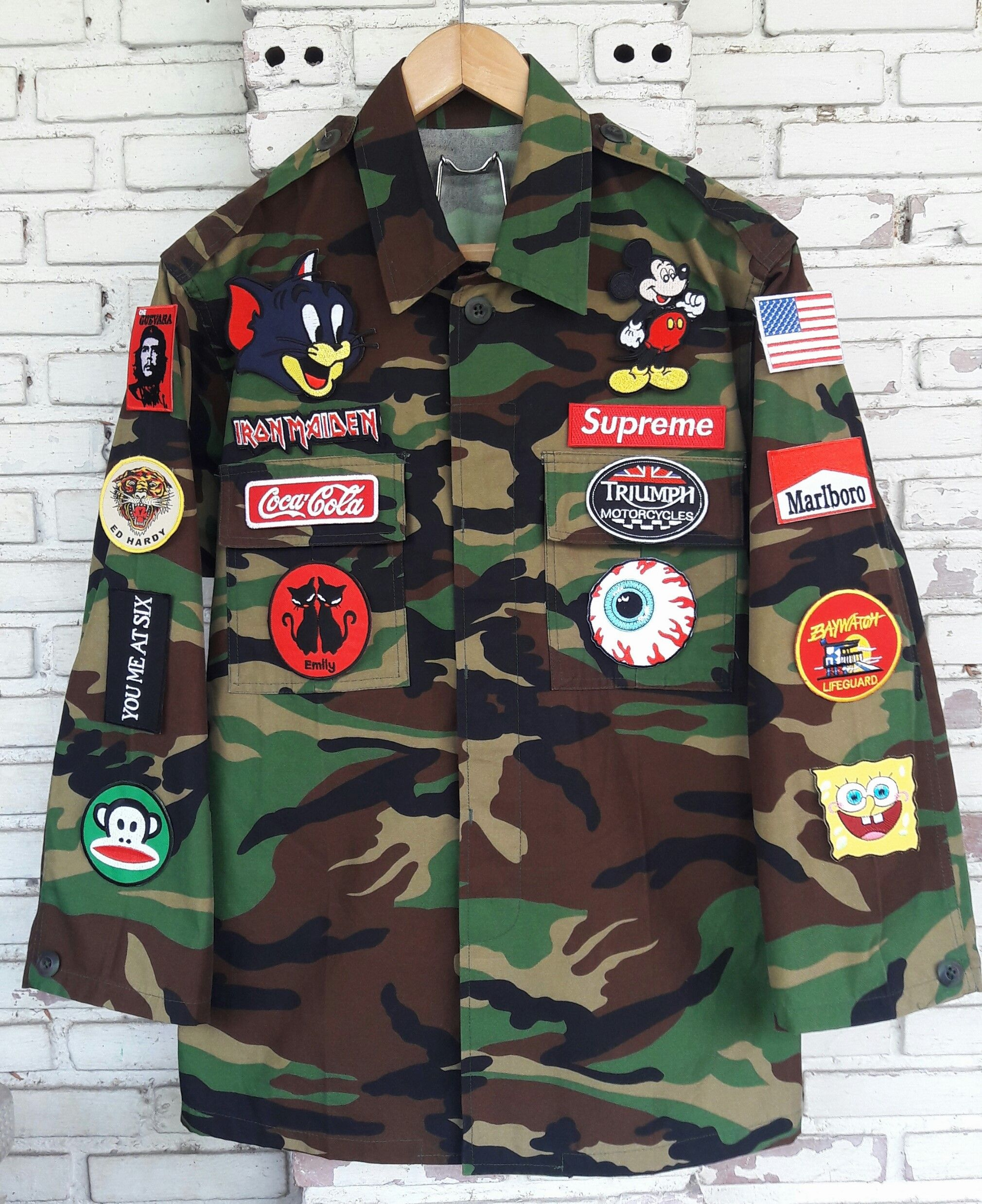 09ef341ae Hand-Reworked Vintage Camouflage Jacket with Patches Size: S by ...