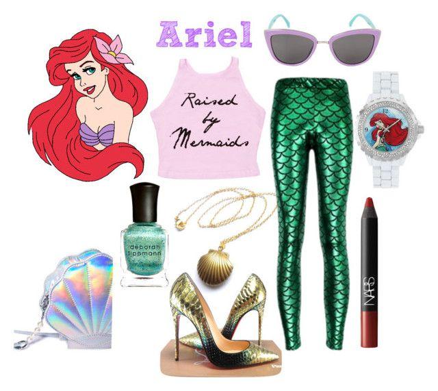 """The little mermaid ariel"" by lizzynupa ❤ liked on Polyvore featuring Disney, NARS Cosmetics, Deborah Lippmann, Christian Louboutin, disney, thelittlemermaid and ariel"