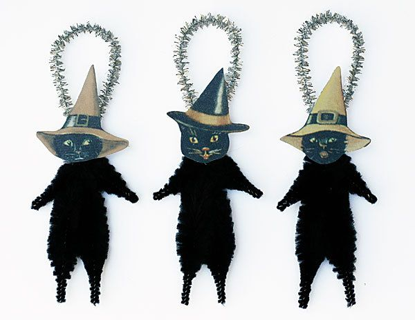 black cat ornaments halloween decor black cats in witch hats - Halloween Cat Decorations