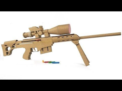 how to make cardboard sniper that sh00ts with magazine youtube cool dyi toys pinterest. Black Bedroom Furniture Sets. Home Design Ideas