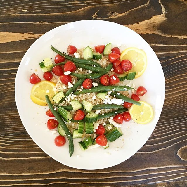 Lunch! In a bowl toss cooked green beans, cherry tomatoes and cucumbers with the juice of 1/2 lemo...