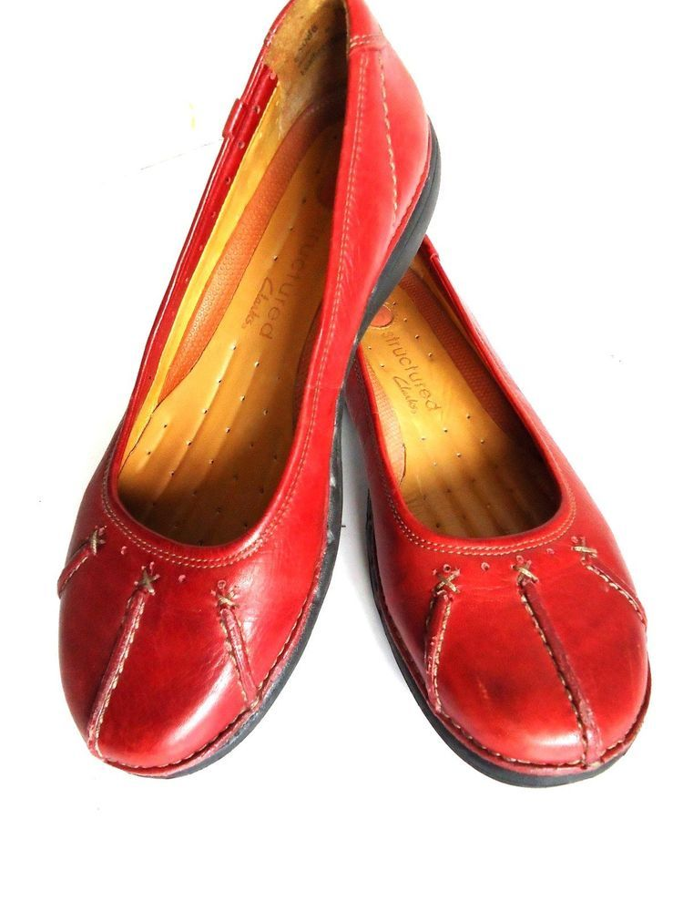 Clarks Unstructured Women red leather slip on comfort loafer flat shoe 8M Nice