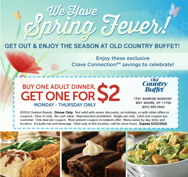 Buy One Adult Dinner, Get One For 2 Expires 5/22/2014