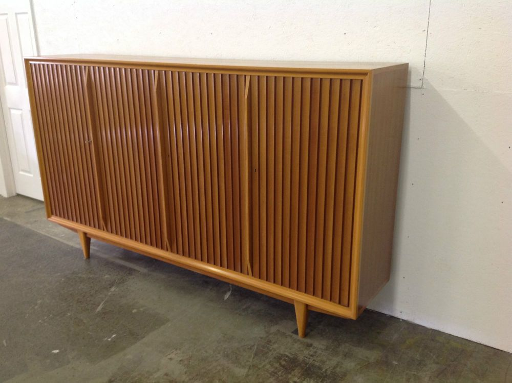 Huge!! Vintage Walnut Maple Credenza Mid Century Modern