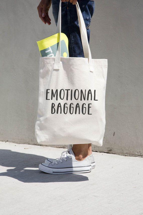 Emotional Baggage - Printed natural canvas funny and humorous tote bag.  --------------------------- BAG DETAILS ---------------------------