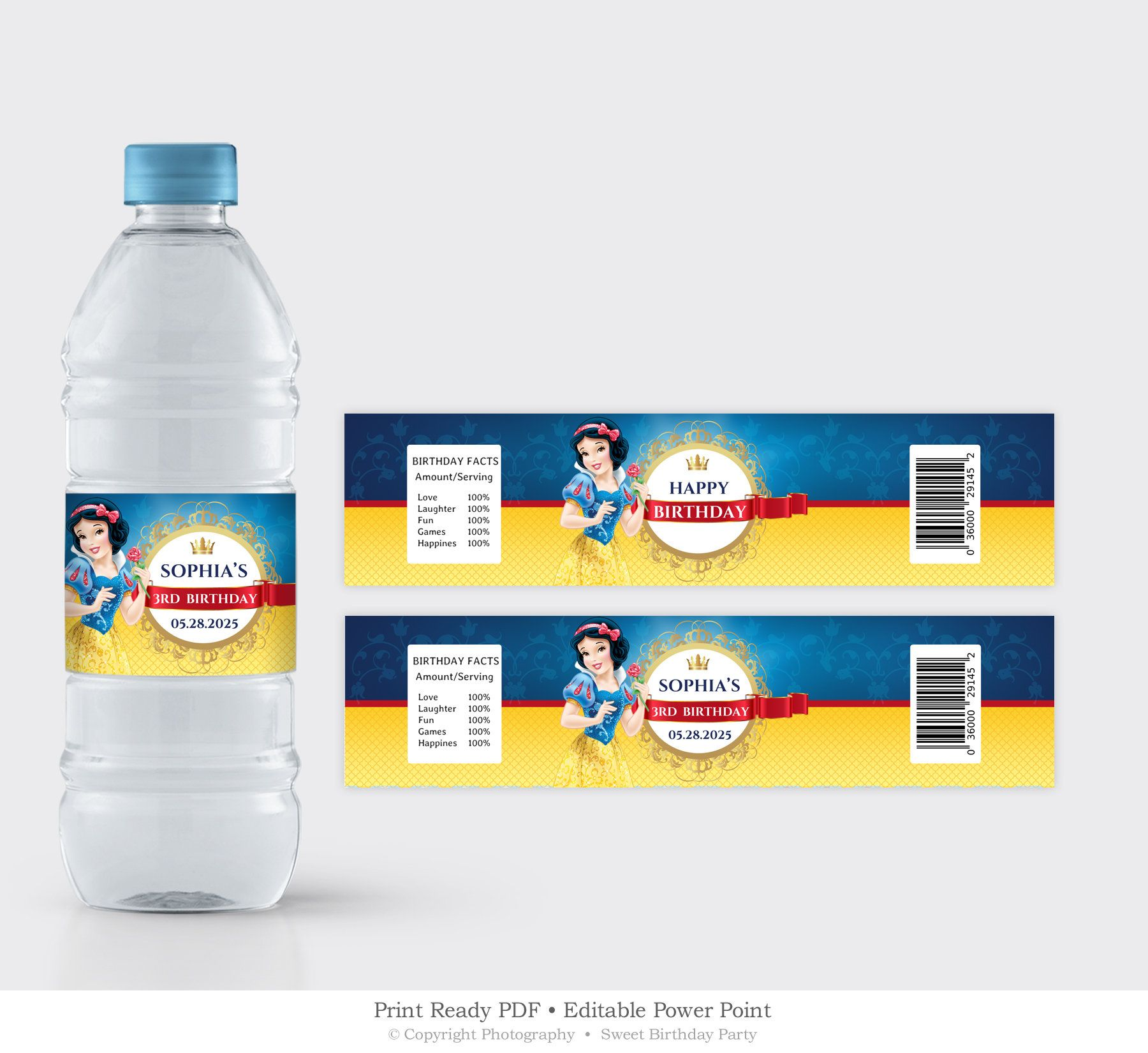 Water Bottle Label Template, Snow White Birthday Label