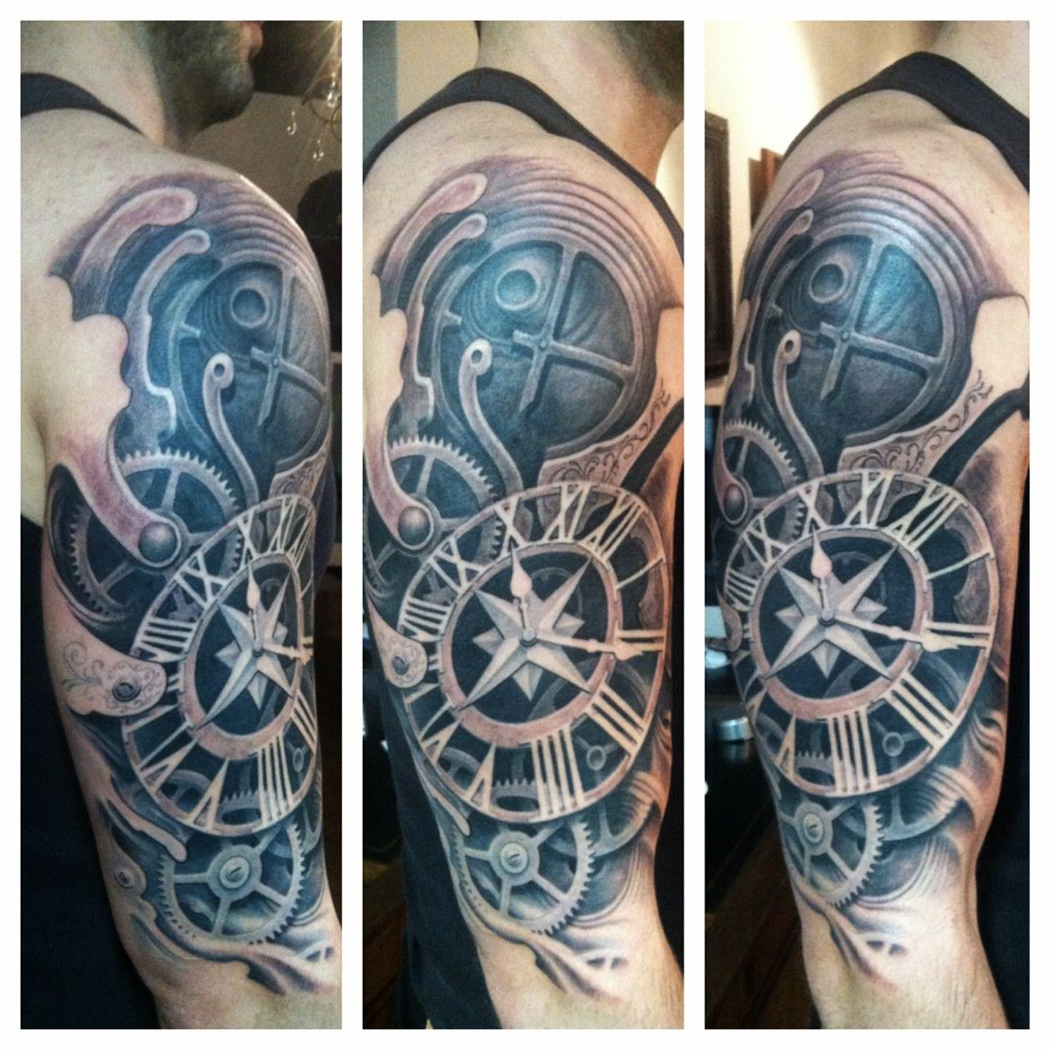 drag to resize Biomechanical tattoo, Time tattoos