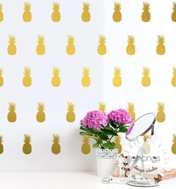 Pineapple In The Wall Pineapples Sticker Modern Gold Wall